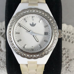 Ladies Adidas Crystal White and Tan Quartz Watch